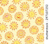 funny happy suns seamless... | Shutterstock .eps vector #297107252