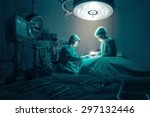surgeons team working with... | Shutterstock . vector #297132446
