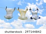 baby diapers on a line | Shutterstock . vector #297144842