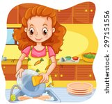woman doing dishes in the... | Shutterstock .eps vector #297151556