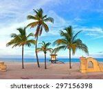 coconut palm tree on a... | Shutterstock . vector #297156398