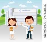 doctor and nurse at hospital.... | Shutterstock .eps vector #297163166