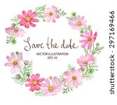 floral wreath with cosmos... | Shutterstock .eps vector #297169466