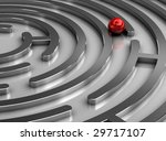 Steel labyrinth - stock photo