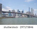 brooklyn bridge under a blue... | Shutterstock . vector #297173846