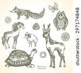 set of decorative patterned... | Shutterstock .eps vector #297174848