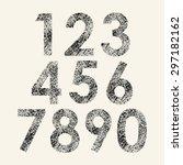 set of black grunge numbers... | Shutterstock .eps vector #297182162