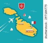 vector travel map of malta in... | Shutterstock .eps vector #297184775