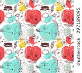 seamless pattern with apples... | Shutterstock .eps vector #297189092