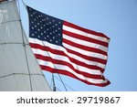 United States Flag With Ship...