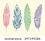set of ethnic feathers.... | Shutterstock .eps vector #297199286