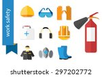 set of flat icons for safety... | Shutterstock .eps vector #297202772