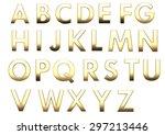 text set of golden fonts | Shutterstock . vector #297213446