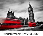 london  the uk. red buses in... | Shutterstock . vector #297233882