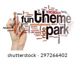 theme park word cloud | Shutterstock . vector #297266402