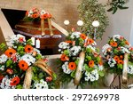 funeral hall with wooden coffin ... | Shutterstock . vector #297269978