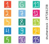 set of fifteen colorful number... | Shutterstock .eps vector #297281258