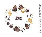 Animal Footprints. Zoo Wreath...