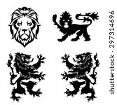 black lion heraldry set | Shutterstock .eps vector #297314696