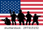 rangers team with rifle on a us ... | Shutterstock .eps vector #297315152
