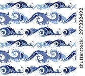 sea waves. hand drawn seamless...   Shutterstock .eps vector #297332492