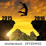 girl jumps to the new year 2016 | Shutterstock . vector #297354932
