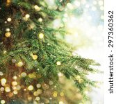 closeup of christmas tree | Shutterstock . vector #297360362