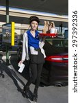 Small photo of Southern California, USA, April 12, 2015, Car Hop, Waitress on rollerskates