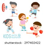 kids and sport  kids playing... | Shutterstock .eps vector #297402422