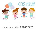kids jumping with joy   happy... | Shutterstock .eps vector #297402428