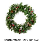 christmas wreath isolated on... | Shutterstock . vector #297404462