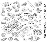 hand drawn sushi set  excellent ... | Shutterstock .eps vector #297410312