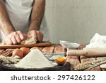 a handful of flour with egg on... | Shutterstock . vector #297426122
