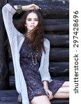 outdoor fashion portrait of... | Shutterstock . vector #297428696
