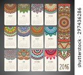 calendar 2016. vintage... | Shutterstock .eps vector #297436286