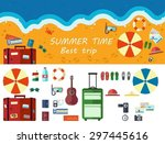 summer time traveling  beach... | Shutterstock .eps vector #297445616