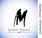 M letter calligraphic hand drawn logo (sign, symbol, icon)