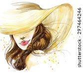 beautiful young woman... | Shutterstock . vector #297464246