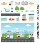 set of urban buildings and... | Shutterstock . vector #297466502