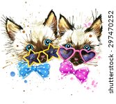 Stock photo kittens twins t shirt graphics kittens twins illustration with splash watercolor textured 297470252