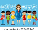 set of multicultural pupils ... | Shutterstock .eps vector #297472166