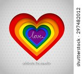 rainbow vector heart celebrate... | Shutterstock .eps vector #297482012
