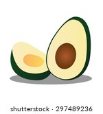 halved avocado on white... | Shutterstock .eps vector #297489236