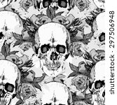 pattern with skull. hand draw. ... | Shutterstock .eps vector #297506948