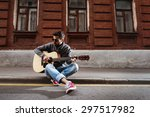 handsome man is playing on... | Shutterstock . vector #297517982