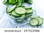 Heap Of Fresh Sliced Cucumbers...