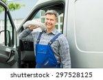 happy repairman with white... | Shutterstock . vector #297528125