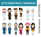 set of full body diverse... | Shutterstock .eps vector #297534182