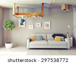 strange living room interior.... | Shutterstock . vector #297538772