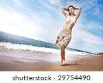 beautiful young girl walking on ... | Shutterstock . vector #29754490